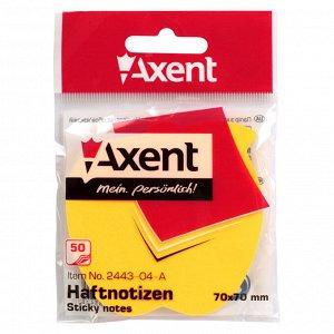 Блок бумаги с липким слоем Axent 2443-04-A, 70x70 мм, 50 листов, яблоко