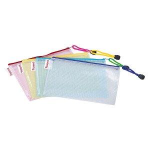 Папка-конверт на молнии, прозрачная, ассорти