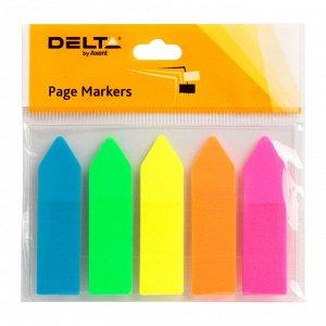Закладки пластиковые Axent Delta D2450-02, 12х45 мм, 125 штук, неоновые цвета