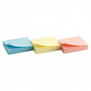 Блок бумаги с липким слоем Delta D3311, 50x40 мм, 100 листов, 3 блока, ассорти