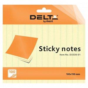Блок бумаги с липким слоем Delta D3330-01, 100x150 мм, 100 листов, линейка, желтый