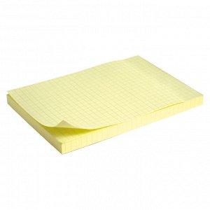 Блок бумаги с липким слоем Delta D3330-02, 100x150 мм, 100 листов, клетка, желтый