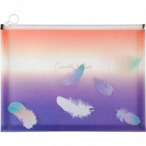 Папка на молнии zip-lock А4+, Colourful Feather 02