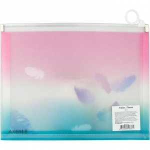 Папка на молнии zip-lock Axent Colourful Feather 1462-91-A, А5+