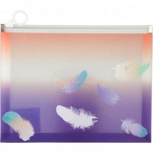Папка на молнии zip-lock А5+, Colourful Feather 02