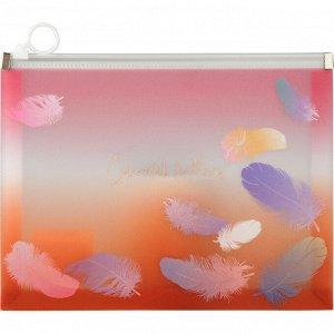 Папка на молнии zip-lock А5+, Colourful Feather 04