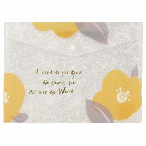 Папка на кнопке Axent Fleur 1495-12-A, А4+, горчичная