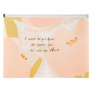 Папка на молнии zip-lock, А4+, Fleur, розовая