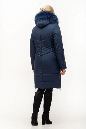 Комфортный модный пуховик с мехом Код: 153 синий песец