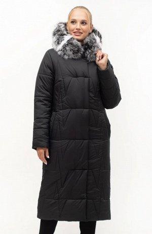Длинный черный пуховик с натуральным мехом Код: 151 чёрный..Чбк