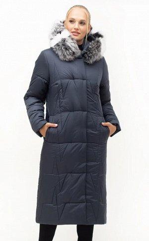 Длинный пуховик пальто с мехом Код: 151 синий..Чбк