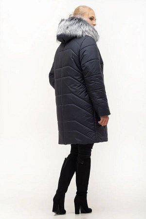 Женский зимний пуховик с капюшоном Код: 154 синий. Мех