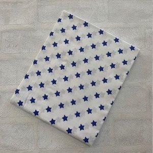 Наволочка 40х60 Белая, мелкие синие звезды