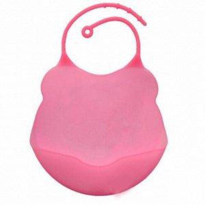 Слюнявчик для кормления силиконовый (розовый)