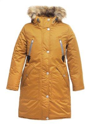 Зимняя курта для девочки Д 126 ГОРЧИЧНЫЙ (128 — 164)