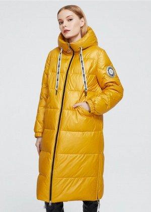 Женский зимний пуховик с капюшоном, цвет желтый