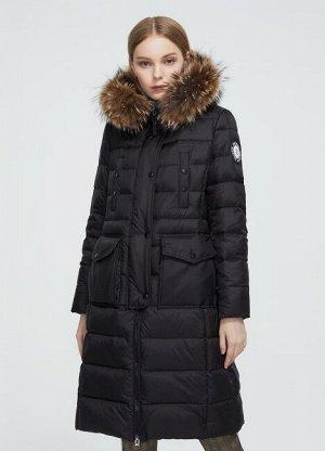 Женский зимний пуховик с капюшоном, цвет черный