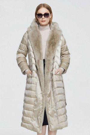 Женское зимнее пальто с капюшоном, цвет бежевый