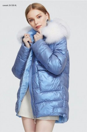 Женская зимняя куртка с капюшоном и мехом белой лисы