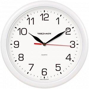 Часы настенные ход плавный, Troyka 21210213, круглые, 24*24*3, белая рамка