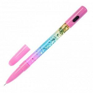 Ручка гелевая Блестки с фонариком