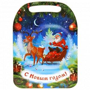 "Доска разделочная деревянная ""Дед Мороз и олень"" 29х21х0,6см"