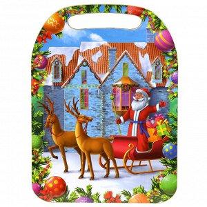 "Доска разделочная деревянная ""Дед мороз и дом"" 29х21х0,6см ("