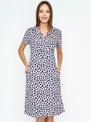 Платье Состав: Хлопок 100%; Цвет: Розовый/синий горох; Страна: РоссияПлатье длиной до середины колена подходит женщинам с любым типом фигуры. Козырем модели является отрезная кокетка, которая акцентир