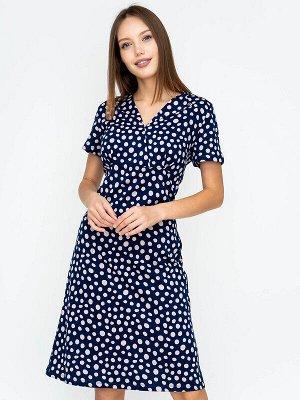 Платье Состав: Хлопок 100%; Цвет: Синий/розовый горох; Страна: РоссияПлатье длиной до середины колена подходит женщинам с любым типом фигуры. Козырем модели является отрезная кокетка, которая акцентир