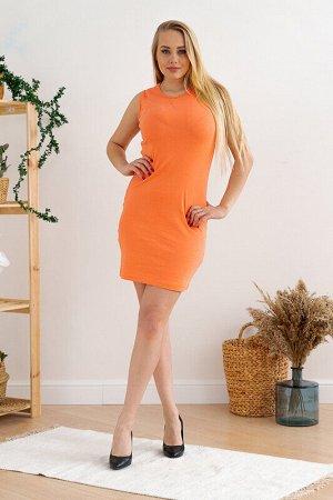 Платье Состав: Хлопок 95%, Лайкра 5%.  Цвет: Оранжевый.   Подробнее: Легкое и очень удобное женское платье, оранжевого цвета без рукавов, выполненное из ткани - рибана, приталенного силуэта.