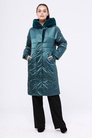 Пальто Состав: 78% ПЭ, 22% нейлон Сезон: Осень, Зима Цвет: Изумрудный  С подкладом: С подкладом (состав- 100% п/э) Утеплитель: Утеплитель- ТермМакс (200 гр/м) Утепленное пальто с отделкой из искусстве
