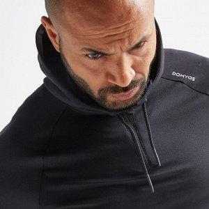 Свитшот для кардио и фитнес-тренировок мужской черный FSW 500 DOMYOS