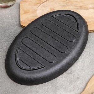 Сковорода «Гриль», 26,3?17 см, на деревянной подставке