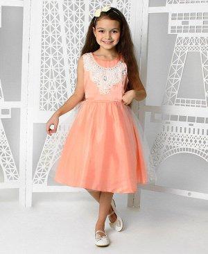 Нарядное платье для девочки персикового цвета 84033-ДН19