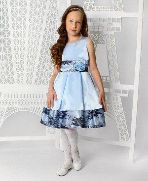 Нарядное голубое платье с гипюром для девочки 83329-ДН19