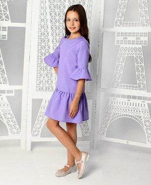 Сиреневое платье с воланами для девочки 84212-ДН19