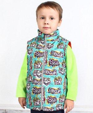 Теплый зеленый жилет для мальчика 69855-МО