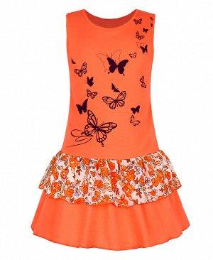 Оранжевый сарафан(платье) для девочки соборками 79872-ДЛ19