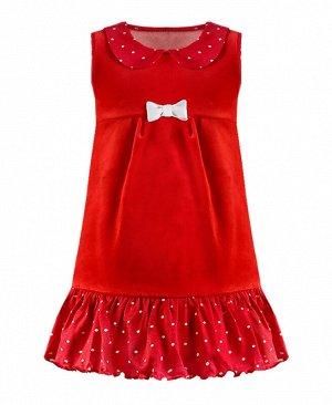 Красный сарафан для девочки из велюра 7910-ДО17