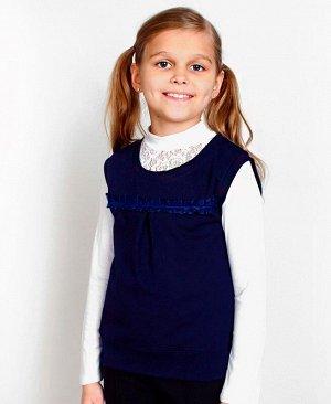Школьный синий жилет для девочки 77032-ДШ17