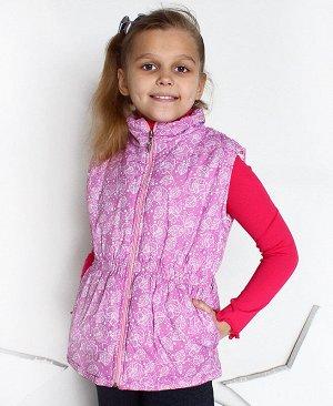 Розовый теплый жилет для девочки 69441-ДО14