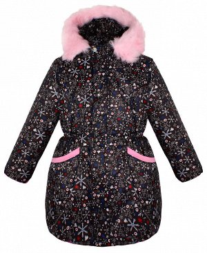 Тёплая куртка для девочки чёрного цвета 84071-ДЗ19