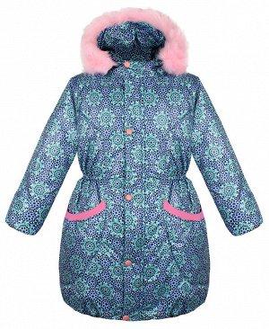 Тёплая куртка для девочки бирюзового цвета 84076-ДЗ19