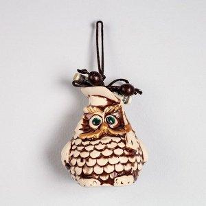 """Сувенир подвесной """"Сова"""", под шамот, декор, 10,5 см, микс"""