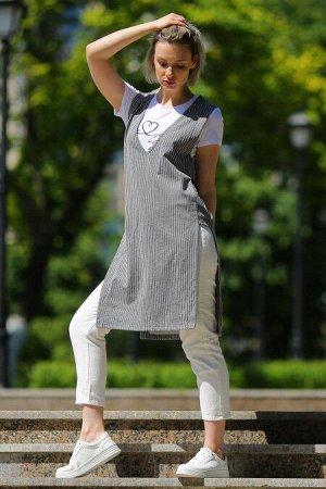 Сарафан женский 110L3 серый/полоска