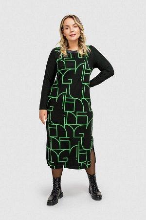 Платье Платье прямого кроя с округлым вырезом горловины. Декорировано рисунком, разрезами по бокам и кожаной вставкой. Состав 91% вискоза, 7% полиэстер, 2% эластан