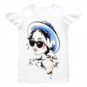 Блузка Блузка украшена модным принтом. Оригинальный покрой. Материал: 95% хлопок, 5% лайкра, кулирка с лайкрой Размеры: 32, 34, 36, 38 Цвет - Белый