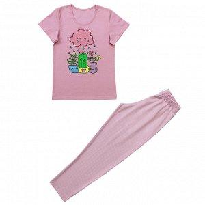 Костюм Милая пижамка. Стильный принт. Материал: 100% хлопок, кулирка Размеры: 32, 34, 36, 38, 40 Цвет - Розовый