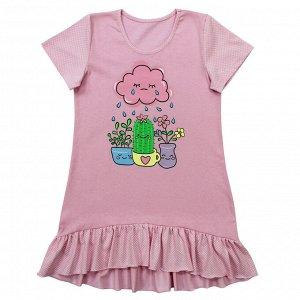 Сорочка Милая сорочка. Стильный принт. Материал: 100% хлопок, кулирка Размеры: 32, 34, 36, 38, 40 Цвет - Розовый
