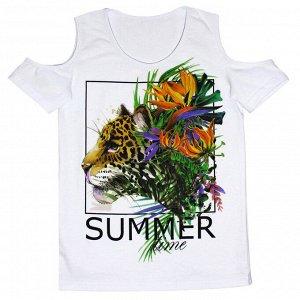 Блузка Стильная летняя блузка для девочек. Модный принт. Материал: 95% хлопок, 5% эластан, кулирка с лайкрой Размеры: 32, 34, 36, 38, 40 Цвет - Белый